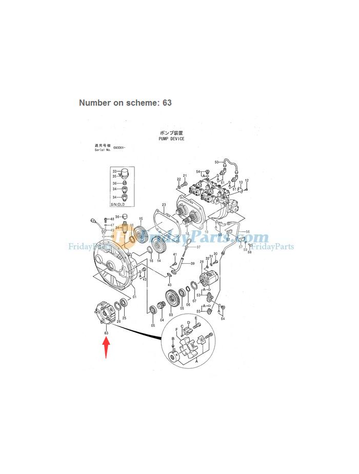 Coupling Assy 45H for Hitachi Excavator EX200-3
